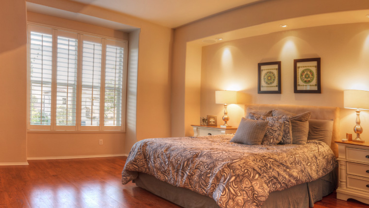 Master bedroom with lights